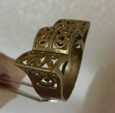 Ancient Rare Bronze Ring  Spades Vintage Antique ROMAN Legionary Artifact