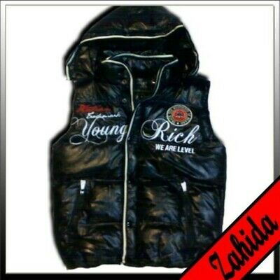 Vest Jacket Hooded Quilted Shine-Wet-Lacquer Look Black Men New