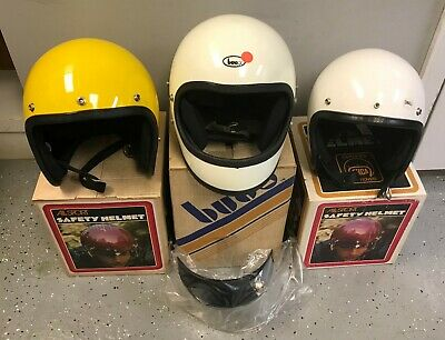 (3) Vintage ALL SPORT BUCO Motorcycle Helmets Full Face Open Face Collectors
