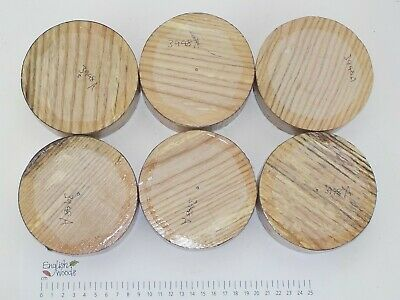 6 English Spalted Ash woodturning or wood carving bowl blanks. 105 x 38mm. 3948A