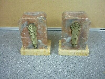 Vintage Pair Art Deco Marble Onyx Bookend -  Worth A Look