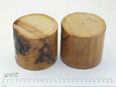2 English Sweet Chestnut woodturning or carving bowl blanks. 105 x 95mm. 3974A