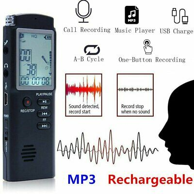 LCD Digital Sound Voice Recorder Rechargeable USB Dictaphone MP3 Player 16GB