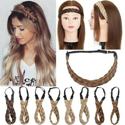 Wide Hair Plait Thick Chunky Braided Hairpiece Brown Headband Hairband 25-30cm