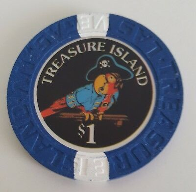 $1 Las Vegas Treasure Island Casino Smooth Inlay Chip - Near Mint
