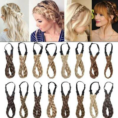"0.6""/1""/1.5"" Wide Hair Plait Thick Chunky Braided Hairpiece Headband Hairband UK"