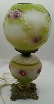 Antique Victorian Parlor Lamp w/Ball Shade Globe Mint Green Raised Floral & Lace