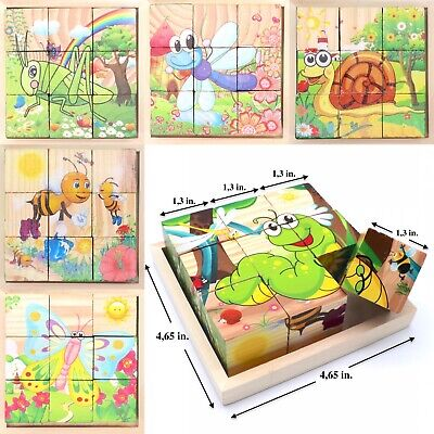 Wooden Block Puzzles Toys Toddler Jigsaw Cube Puzzle Educational Toy Insects
