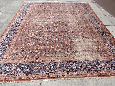 Antique Vintage Worn Traditional Hand Made Oriental Wool Red Carpet 320x260cm