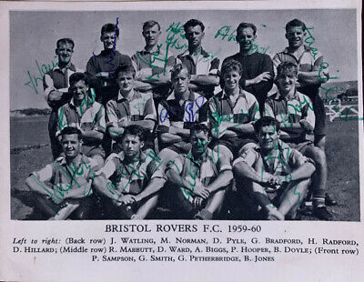 Fully Signed Bristol Rovers FC  X15 Football Autograph Team Group 1950s 1960s