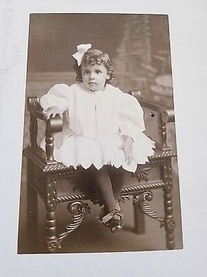 Antique Cabinet Photo Little Girl Sitting Chair 1900s Glusser Studio Canton OH