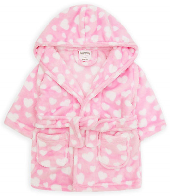 Babytown Dressing Gown Bathrobe with Hood Soft Plush Fleece Pink or Blue 12-18
