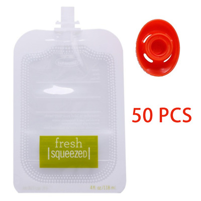 50Pcs BABY Food Pouch Packaging Squeeze Pouch Refillable Fresh Storage Bag