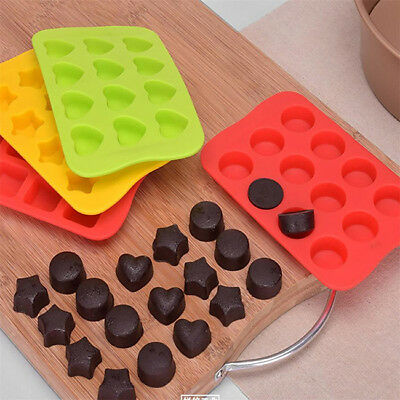 3D Heart/Round/Star Shaped Fondant Cake Silicone Mold Cookies DIY Baking Tool DB