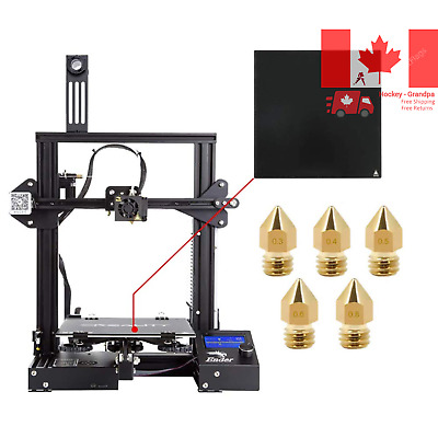 Creality Ender 3 3D Printer with Tempered Glass Plate and Five Free Nozzles B...