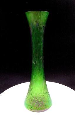 "Loetz Kralik Bohemian Art Glass Green Iridescent Bark Textured 13 5/8"" Vase"