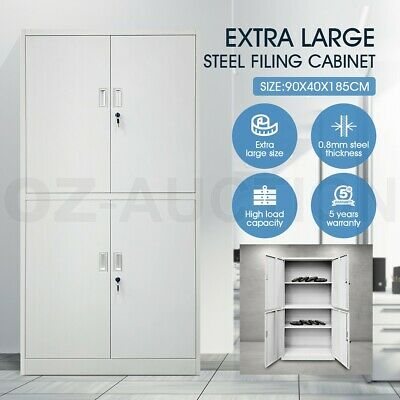 Filing Cabinet Filing Document Storage Lockable Doors Adjustable Shelves - 185cm