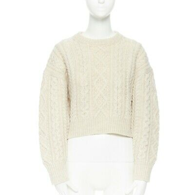 ISABEL MARANT ETOILE classic cream beige braid cable-knit cropped sweater FR36 S