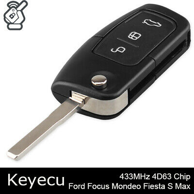 3 Button Flip Remote Key Fob 433MHz 4D63 Chip for Ford Focus Mondeo Fiesta S Max