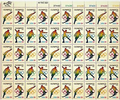 Rare Us Scott # 1695 Complete Sheet Of 50 Us Winter Olympics Stamps - 1976 - Mnh