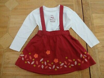Girls Vertbaudet 2 Piece Outfit Russian Doll Top Skirt with Braces - Age 6