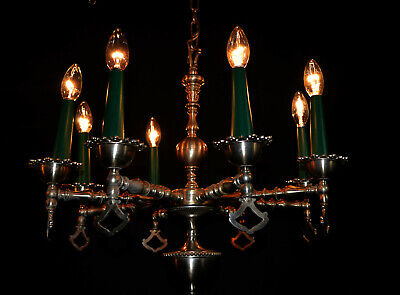 Danish antique mid-century C-1950s solid white metal 8 arm designer chandelier