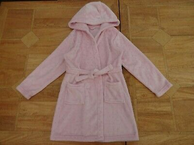 Girls Matalan Pink Hooded Soft Fleecy Dressing Gown / Robe - Age 11