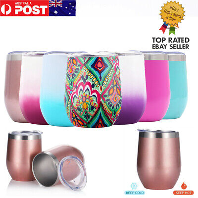 SWIG 12oz Wine Glasses Double Wall Tumbler Bottle Vacuum Insulated Cup+Lids AU