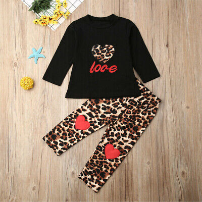 Toddler Kids Baby Girl Clothes Long Sleeve Tops+Leopard Leggings Pants Outfit