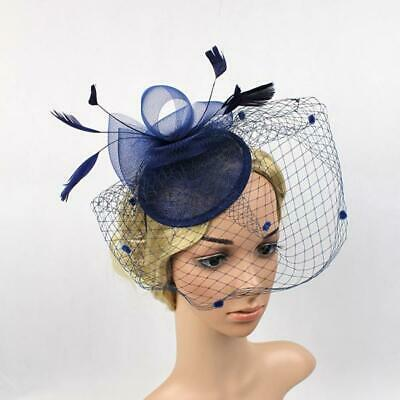 Wedding Royal Ascot Races Feather Fascinator 20s Charleston Party Hat Blue