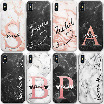 Personalised Initials Phone Case Marble Hard Cover For Samsung A3 A5 A7 A8 A9…