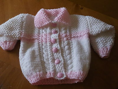 Brand New Hand Knitted Baby Girls Pink  & White  Aran Cardigan With Collar