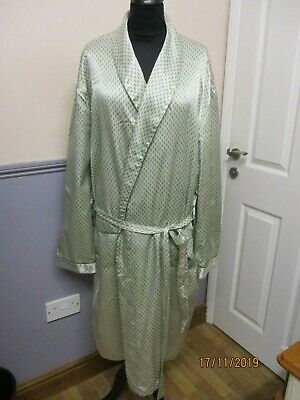 Vintage Man's Greeny Grey Dressing Gown Satin Feel  Xl