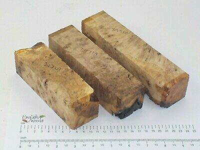 3 English Burr Burl Oak woodturning or wood carving blanks. 47mm square. 3971A