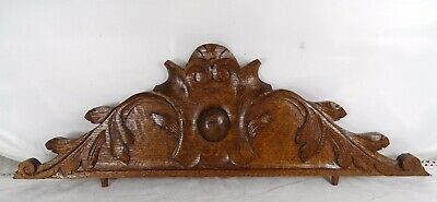 """22"""" French Antique Pediment -Crest In Solid Oak Wood Salvage"""