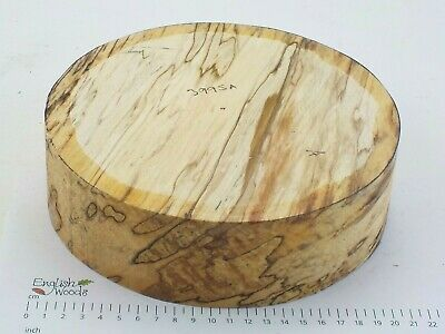 English Spalted Beech woodturning or wood carving bowl blank. 205 x 60mm.  3995A
