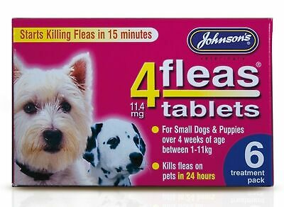Johnsons Veterinary Products 4Fleas Tablets for Puppies and Small Dogs 6 Pack...