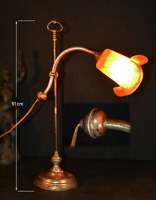Rare Edwardian 1910 plated swan neck student lamp Original pâte de verre shade