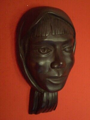 Stunning Wooden Art Deco Wall Mask, Young Girl In Head Scarf