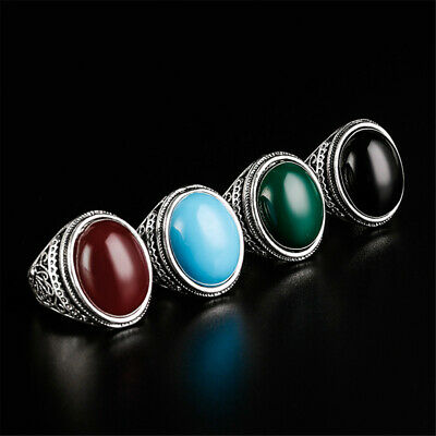 Labradorite Silver Ring For Men Women Gothic Style Natural Oval Stone Jewelry DB