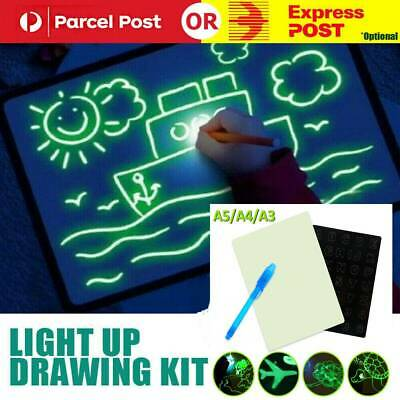 A3 Light Up Drawing Board Draw Sketchpad Board Kids Developing Toy Gift + Pen AU