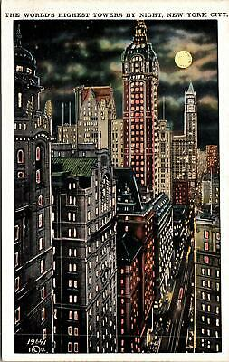 Nerw York City NY World's Highest Towers Postcard unused 1915-30s