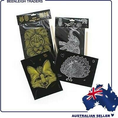 GOLD or SILVER SCRATCH ENGRAVING ART PAPER - Includes Tool - BRAND NEW