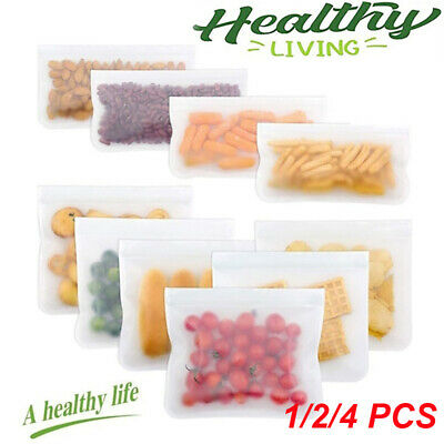 1/10 Kitchen Fresh Zip lock Bags Reusable Silicone Food Freezer Storage Ziplock