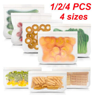 1/4/10 Kitchen Fresh Zip lock Bag Reusable Silicone Food Freezer Storage Ziplock