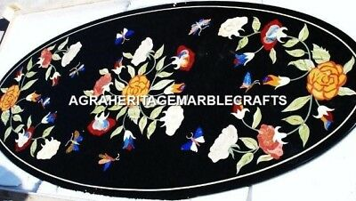 Black Marble Hallway Dining Top Table Marquetry Stunning Inlay Home Decor H4571