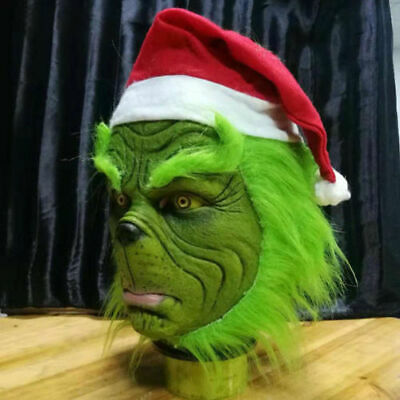 Christmas The Grinch Full Head Latex Mask Wig And Xmas Hat Monster Adult Costume