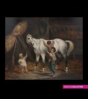 "ANTIQUE ORIGINAL FRENCH SCHOOL 1850s OIL ON CANVAS PAINTING ""Horse & children"""