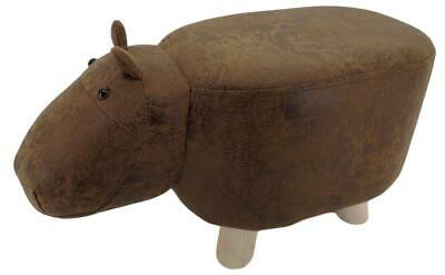 Mini Brown Hippo stool / footstool faux leather / suede with wooden legs