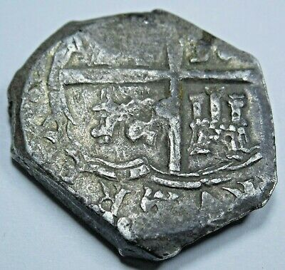 1600's Spanish Toledo Silver 2 Reales Cob Piece of 8 Real Colonial Treasure Coin